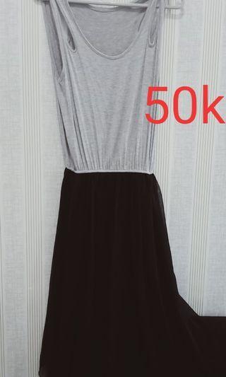 Dress panjang tanpa lengan hitam abu2
