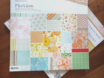 Scrapbook Paper Stack Patterned Cardstock Scrapbooking Pad Basic Grey Fiction