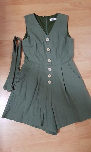 LOVET LAREDO LINEN BUTTON DOWN ROMPER WITH SASH (OLIVE)