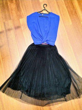2 piece Tops & Pom pom stretchable skirt