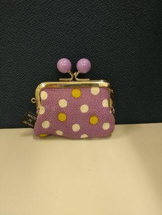 日本紫色波點Coins Bag