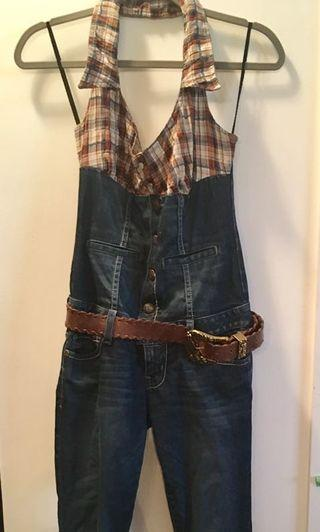 Guess denim onesie (with leather belt)