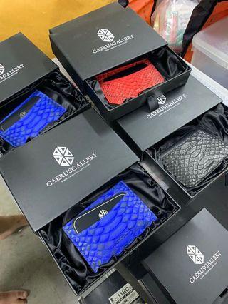 Real Python Skin Cardholder Black/Red/Blue