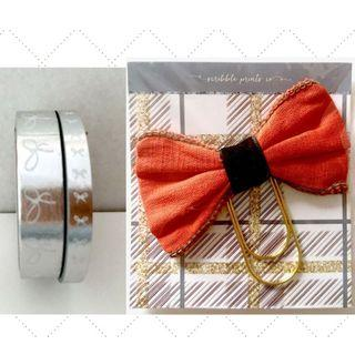 (GSS) Silver Foil & White Bow Washi and Bow Paper Clip Special Exclusive Set