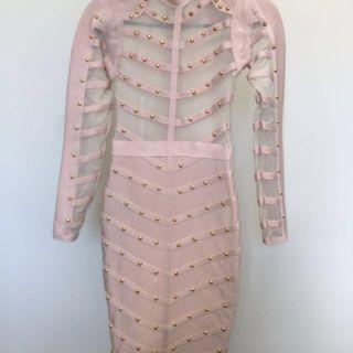 Blush studded dress