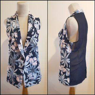 Navy floral printed long vest outerwear