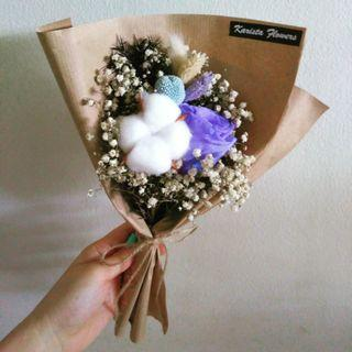 Eternal preserved violet rose cotton flower bouquet