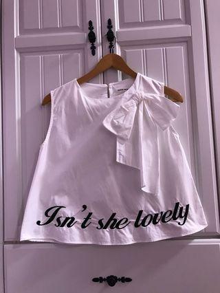 白色刺繡背心襯衫