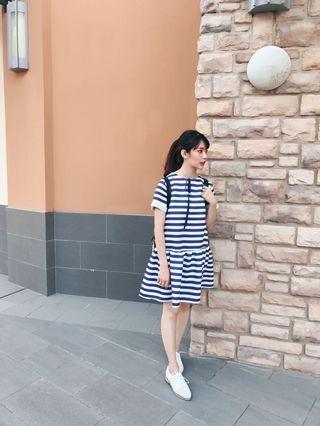 藍白色條紋洋裝