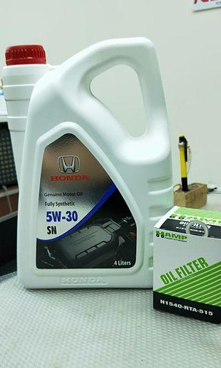 Honda Engine Oil 5W-30 SN With Oil Filter and Drain Washer.