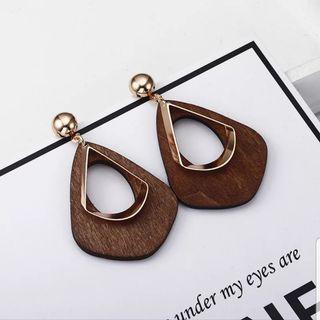 Wood Gold Drop Earring