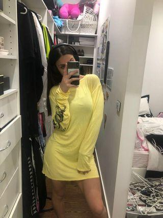 Yellow dragon sleeve dress
