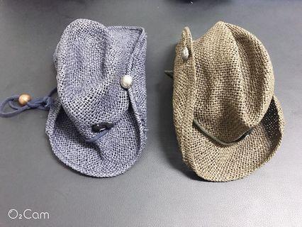 二手寶寶嬰兒牛仔帽編織帽遮陽帽 咖啡色的一個