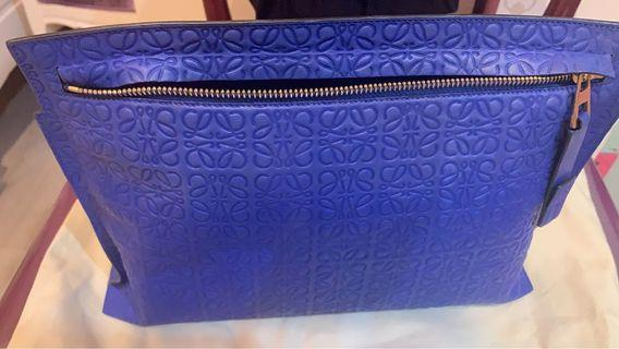 Loewe pouch (blue electric) with gold hardware