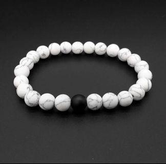 buda bracelet white marble