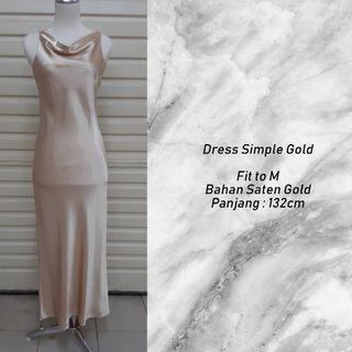 Dress gold long simple
