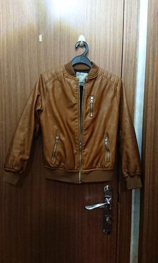 🚚 Brown faux Leather Jacket