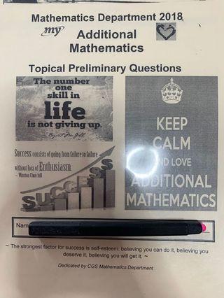 CGS    Add Maths Prelim compilation