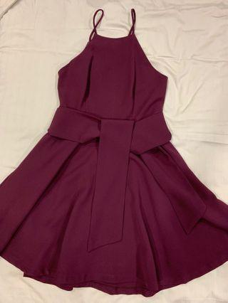 Burgundy dress with sash