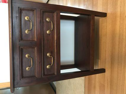 Solid teak small drawers console and cube display