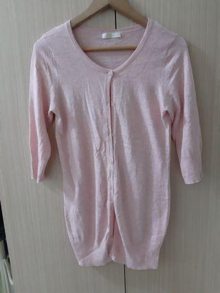 🚚 PS company 粉色七分袖罩衫