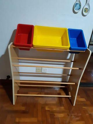Wooden stand with storage boxes