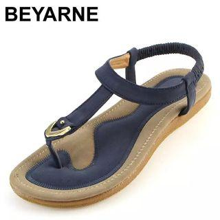(PO) 35-42 size 35-42 new women sandal flat heel sandalias femininas summer casual single shoes