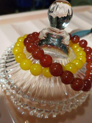 Yellow, red Agate bracelets