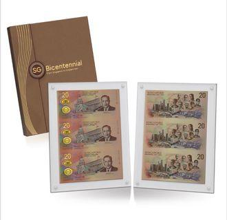 Singapore Bicentennial Numismatic Currency Set 3-in-1 $20 Uncut Sheet FOR BID