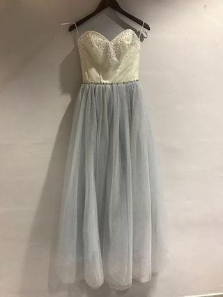 晚裝裙-米白灰