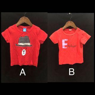 🚚 【二手➕近全新】麗嬰房 薄款 棉質 紅色 短袖上衣 短袖T恤 🎁下單就送小禮物🎁