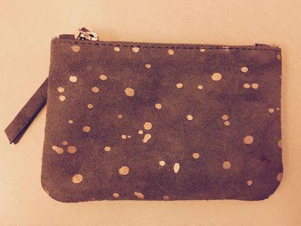 Accessorize Real Leather Grey Suede Coin Pouch