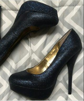 Navy Glitter Heels