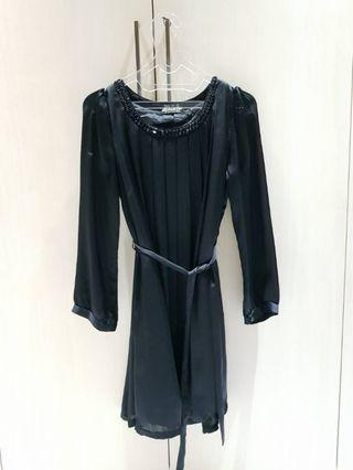 Satin Dress Long Sleeve Black