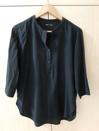 🚚 Lativ黑色無領襯衫