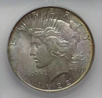 1922 Peace Dollar ICG MS66