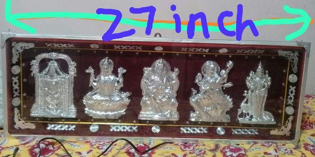 Indian god idol( silver coated) frame with multicolour led lights 27 X9.2×2.8 inches length X heightX width