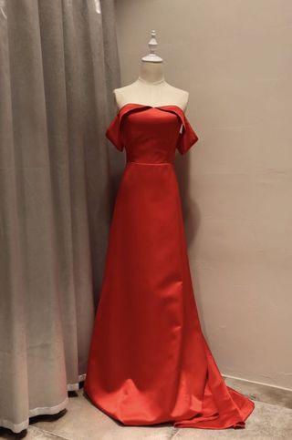 氣質一字肩晚裝裙-紅