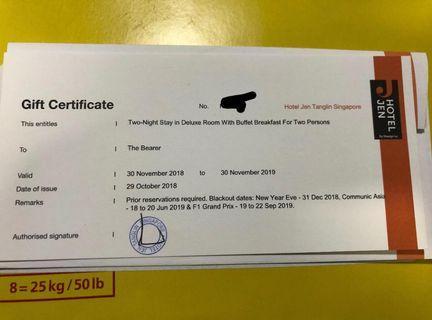 Gift certificate hotel jen tanglin