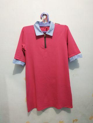 Dress pink kerah