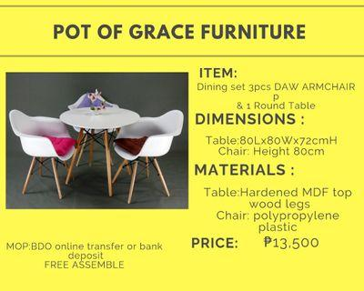 Dining set 3pcs DAW ARMCHAIR + 1 ROUNDTable