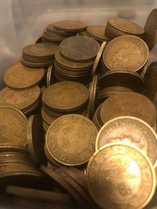 英女王頭及英皇佐治六世一毫五仙錢幣