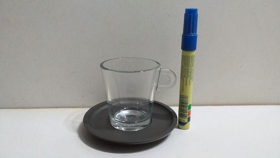 NESPRESSO 3吋高 玻璃咖啡杯 膠碟一套 (K)