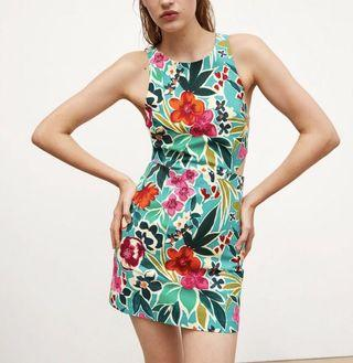 Bold Printed Mini Playsuit Dress with Waist Cut-out Zara style