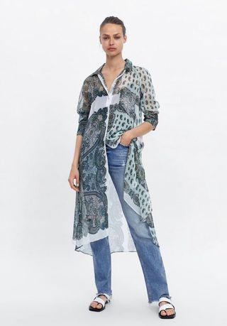 [IN-STOCK] Long Paisley Print Blouse Zara style