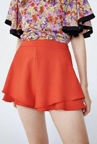 High-waisted Red Frill Shorts Zara style