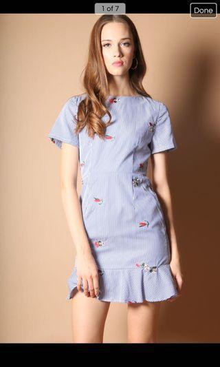Cynthia Pinstripe Dropwaist Dress S