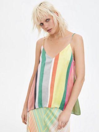 Multi-coloured Striped Satin Top Zara style