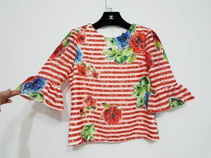正韓 made in korea 有標 修飾手臂 泡泡袖/荷葉袖 顯瘦 蕾絲雕花 玫瑰花 氣質 上衣