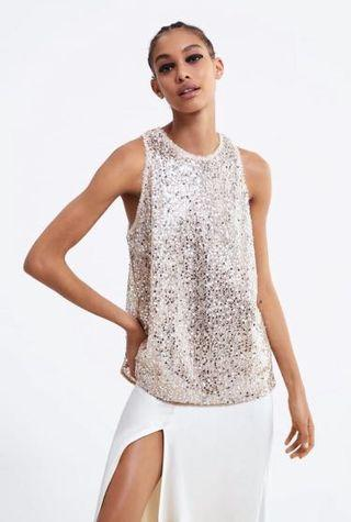 Pale Pink Sequined Sleeveless Top Zara style